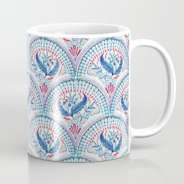 Art Deco Fresco in Cool Mediterranean Blue and Red Coffee Mug