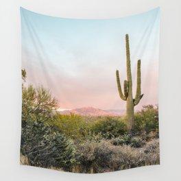 Desert Mountains Saguaro Cactus Blue & Pink Sunset Phoenix Arizona Wall Tapestry