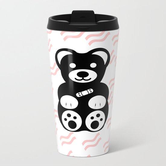 Black Teddy Bear Metal Travel Mug