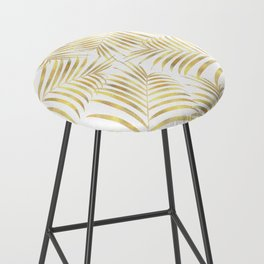 Palm Leaves in Golden Yellow Pattern Bar Stool