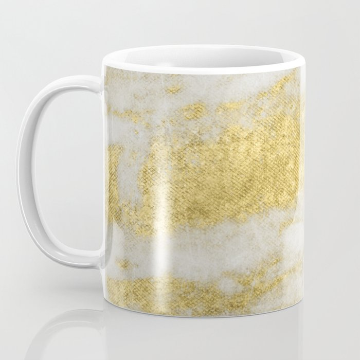 Marble - Glittery Gold Marble and White Pattern Coffee Mug