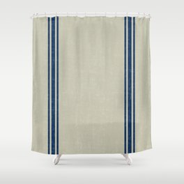 Blue Stripes on Linen color background French Grainsack Distressed Country Farmhouse Shower Curtain