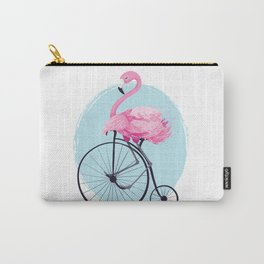 Cute flamingo on vintage bike. Carry-All Pouch