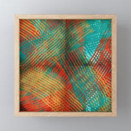 Red and Turquoise Weave Framed Mini Art Print