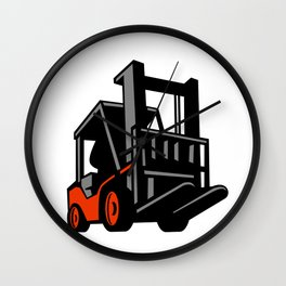 Forklift Truck Low Angle Retro Wall Clock