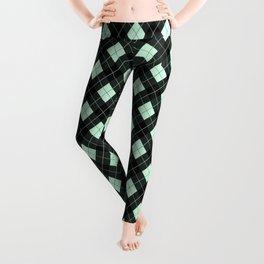 Summermint Green and Black Argyle Plaid Pattern Leggings