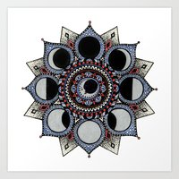 moon phase Art Prints featuring Moon Phase Mandala by Paula Savage