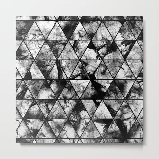 Triangular Whispers - Black and white, geometric abstract Metal Print