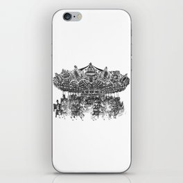 Carousel Drawing | Merry Go Round Art Print iPhone Skin