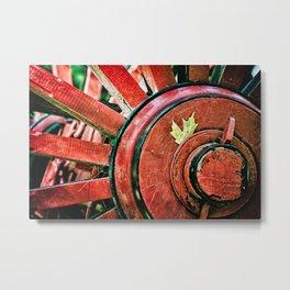 Vintage Wooden Wheel Metal Print