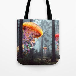 ElectricJellyfish Worlds in a Forest Tote Bag
