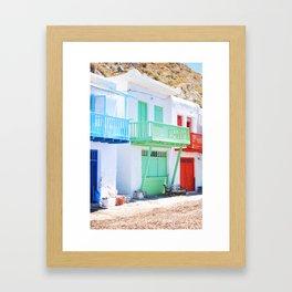 230. Tiny colorful Houses, Greece Framed Art Print