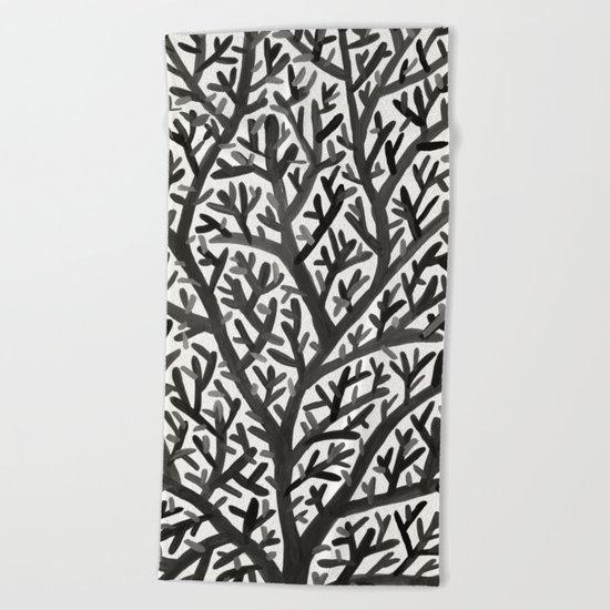 Black Fan Coral Beach Towel