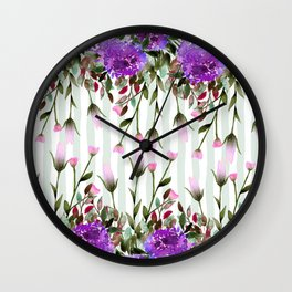 Modern lavender purple pastel green floral stripes Wall Clock