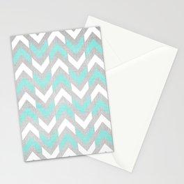 Teal & White Herringbone Chevron on Silver Wood Stationery Cards