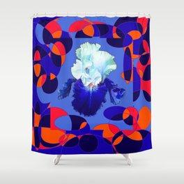 Modern Blue White Iris Orange Saffron Black Design Shower Curtain