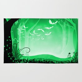 Dark Forest at Dawn in Emerald Rug