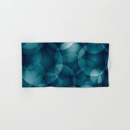 Dark intersecting heavenly translucent circles in bright colors with the blue glow of the ocean. Hand & Bath Towel