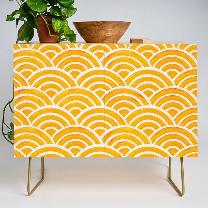 Modern Credenza Cupboard | Japanese Seigaiha Wave - Marigold Palette by Cat Coquillette - Gold - Birch - Society6
