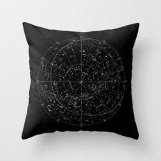 Constellation Map - Black & White Throw Pillow
