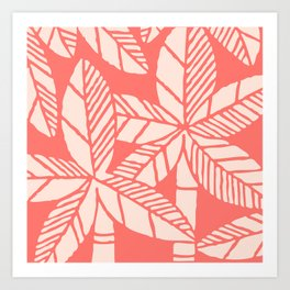 Tropical Palm Tree Composition Coral Art Print