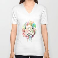 stormtrooper V-neck T-shirts featuring Stormtrooper by Veronika Weroni Vajdová