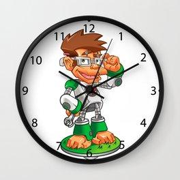 Cartoon Monkey Nerd robot Wall Clock