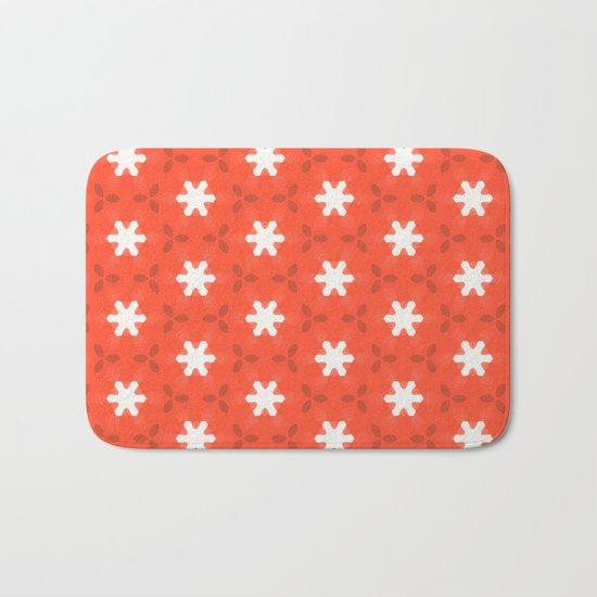 white star on red pattern Bath Mat