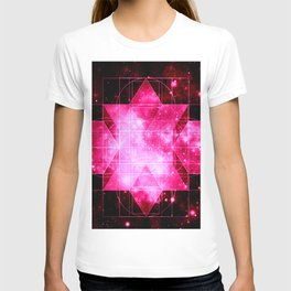 Magenta Galaxy Sacred Geometry Rhombic Hexecontahedron T-shirt