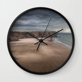 Wind swept Three Cliffs Bay Wall Clock