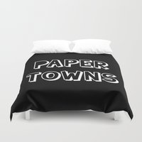 john green Duvet Covers featuring Paper Towns John Green by denise