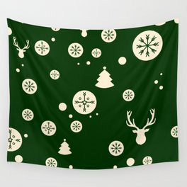 Christmas Pattern Green Wall Tapestry