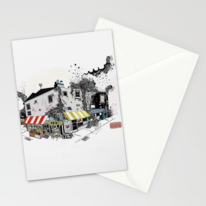Street view pen drawing London illustration Stationery Cards