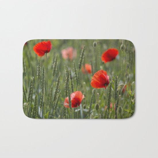 Red Poppy Flowers on green meadow Bath Mat