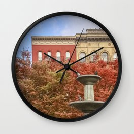 New York City Autumn Leaves and Architecture Wall Clock