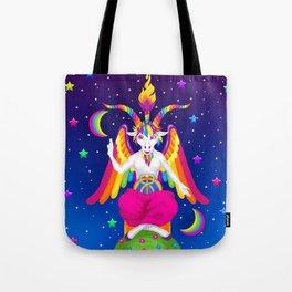 1997 Neon Rainbow Baphomet Tote Bag