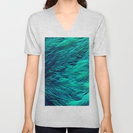 Teal Feathers Unisex V-Neck