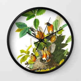 Vintage Scientific Bird Botanical Illustration Wall Clock