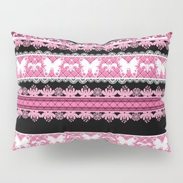 Black and pink striped pattern . Pillow Sham