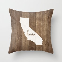California is Home - White on Wood Throw Pillow