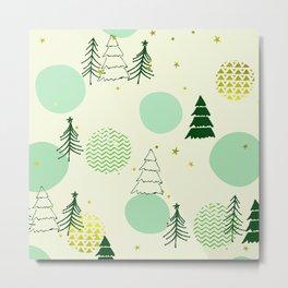 Christmas Christmas Tree Pattern With Mid-Century Modern Designs Metal Print