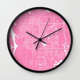 Fort Collins map pink Wall Clock