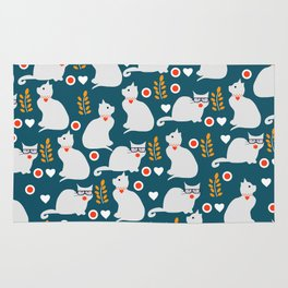 Romantic cat pattern Rug
