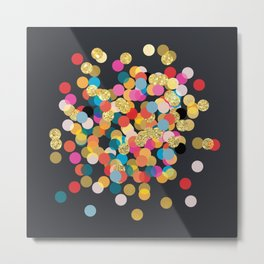Gold & Colorful Confetti Metal Print
