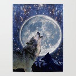 One Wolf Moon - Wildlife Art Poster
