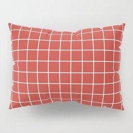 International orange (Golden Gate Bridge) - red color - White Lines Grid Pattern Pillow Sham
