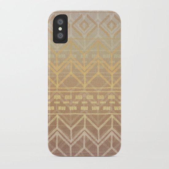 Neutral Tan & Gold Tribal Ikat Pattern iPhone Case