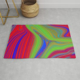 red and blue swirls with green Rug