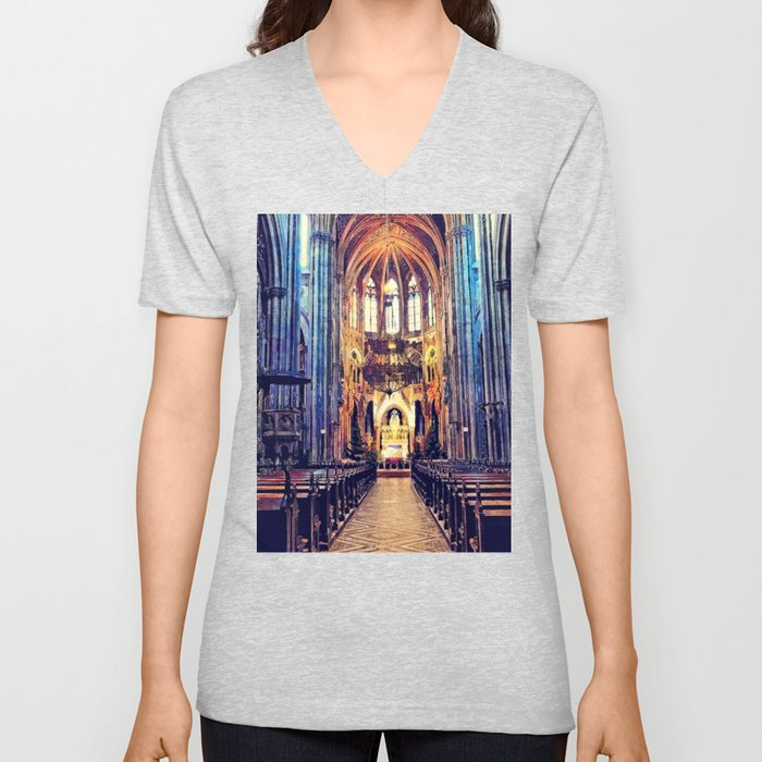 Vienna church watercolor Unisex V-Neck