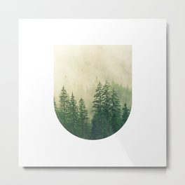 Mountain Foggy Mist Green Trees Metal Print